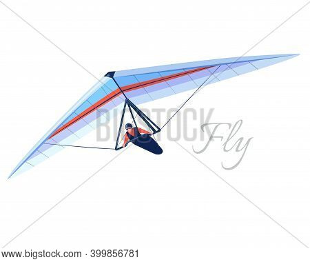 Glider Extreme Sport. Human Pilot Fly On Hang Wing. Vector