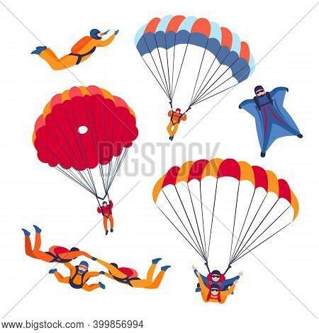 Parachute Jump Kinds Set. Skydiving Extreme Sport. Vector
