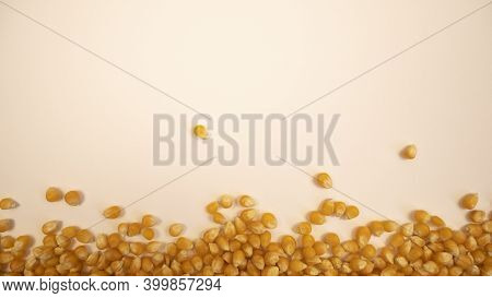 Pop Corn Maize Frame. Dry Popcorn. Healthy Eating. Yellow Grain Agriculture