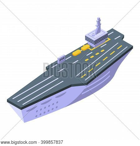 Aircraft Carrier Top Army Icon. Isometric Of Aircraft Carrier Top Army Vector Icon For Web Design Is
