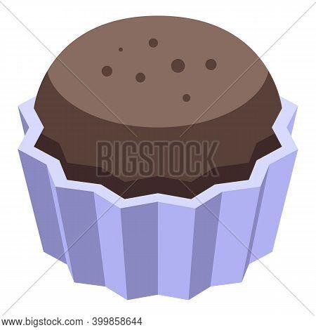 Chocolate Paste Cupcake Icon. Isometric Of Chocolate Paste Cupcake Vector Icon For Web Design Isolat