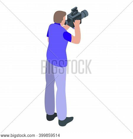 Reportage Cameraman Icon. Isometric Of Reportage Cameraman Vector Icon For Web Design Isolated On Wh