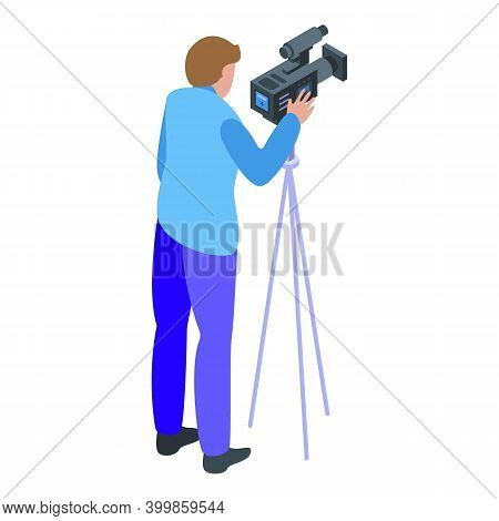 Reportage Street Video Cameraman Icon. Isometric Of Reportage Street Video Cameraman Vector Icon For