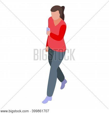 Girl Try Free Wifi Zone Icon. Isometric Of Girl Try Free Wifi Zone Vector Icon For Web Design Isolat