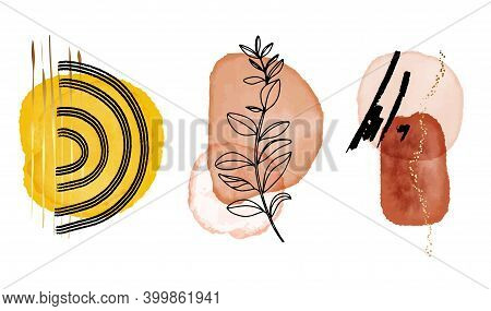 Abstract One Line Art Tropical Minimalistic Watercolor Shapes With Floral Drawing. Geometric Abstrac