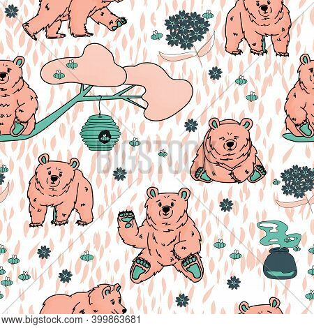 Cute Pink Bear That Walks And Sits, Honey, Forget Me Nots, Beehive, Smell Of Honey, Tree, Branch, Be