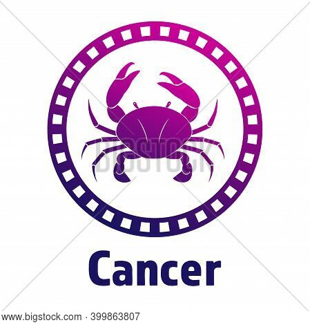 Colorful Cancer Vector Icon. Illustration Of An Astrology Sign. Zodiac Astrology Sign Depicting Crab