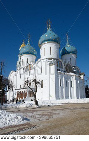 Holy Trinity Sergius Lavra. Winter View Of The Cathedral Of The Assumption Cathedral. Sergiev Posad,