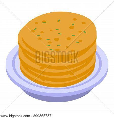 Turkish Pancakes Icon. Isometric Of Turkish Pancakes Vector Icon For Web Design Isolated On White Ba