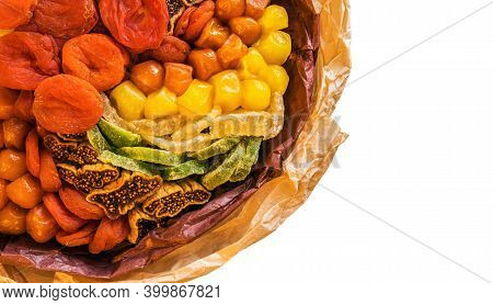 Sweet Bouquet Composed Of Dried Fruits Close Up