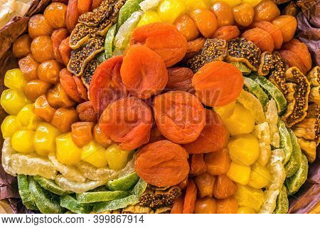 Sweet Bouquet Composed Of Dried Fruits - Dried Apricots, Kiwi, Figs, Pineapple, Kumvat,