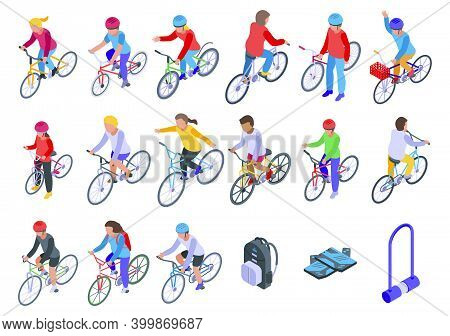 Kids Cycling Icons Set. Isometric Set Of Kids Cycling Vector Icons For Web Design Isolated On White