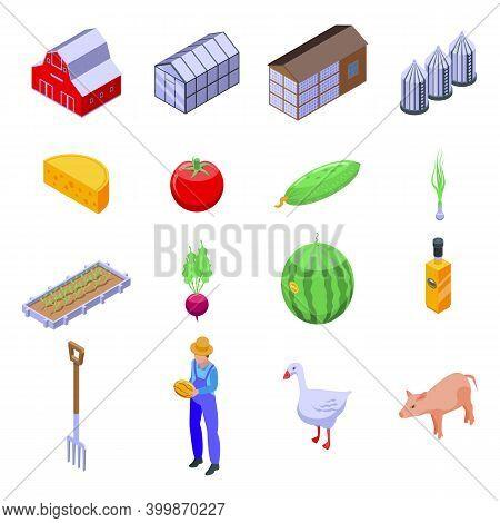 Eco Farming Icons Set. Isometric Set Of Eco Farming Vector Icons For Web Design Isolated On White Ba