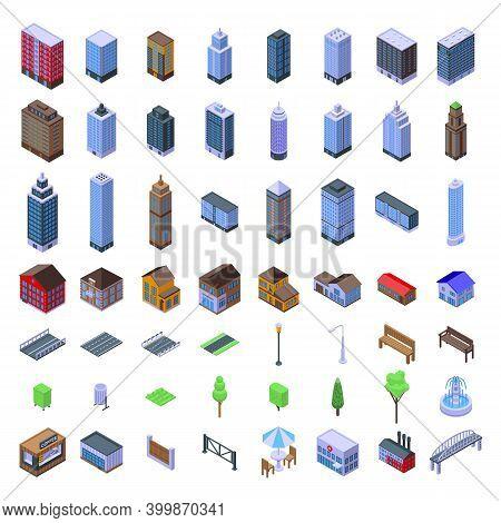 City Infrastructure Icons Set. Isometric Set Of City Infrastructure Vector Icons For Web Design Isol