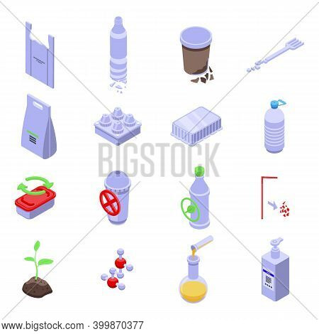 Biodegradable Plastic Icons Set. Isometric Set Of Biodegradable Plastic Vector Icons For Web Design