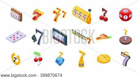 Lucky 7 Icons Set. Isometric Set Of Lucky 7 Vector Icons For Web Design Isolated On White Background