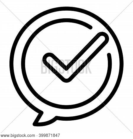 Approved Discussion Icon. Outline Approved Discussion Vector Icon For Web Design Isolated On White B