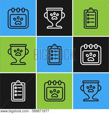 Set Line Calendar Grooming, Grooming Salon Price List And Pet Award Icon. Vector