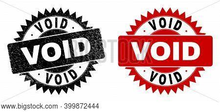 Black Rosette Void Watermark. Flat Vector Distress Watermark With Void Message Inside Sharp Rosette,