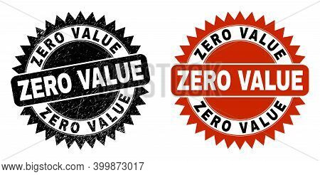 Black Rosette Zero Value Seal. Flat Vector Scratched Seal With Zero Value Message Inside Sharp Roset