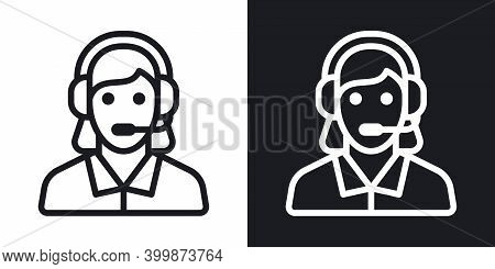 Technical Support, Customer Support Or Customer Care Icon. Call Center Concept. Woman In Headset Ans
