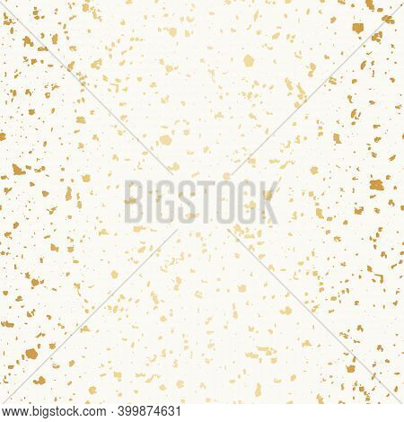 Vector White And Gold Foil Hand Crafted Terrazzo Pattern Background. Backdrop Of Dense Coarse Graine