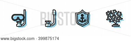 Set Line Anchor Inside Shield, Diving Mask And Snorkel, Snorkel And Coral Icon. Vector