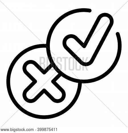 Approved Rejected Control Icon. Outline Approved Rejected Control Vector Icon For Web Design Isolate