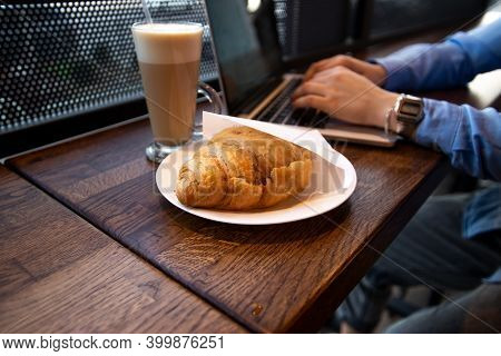 Lunch Time Concept. Delicate Croissant And Delicious Latte. Close Up View Of Food. Cafe On Backgroun