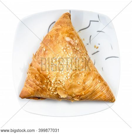 Baked Samsa (savoury Pastry Stuffed With Minced Meat And Chopped Onion In Central Asian Cuisine) On