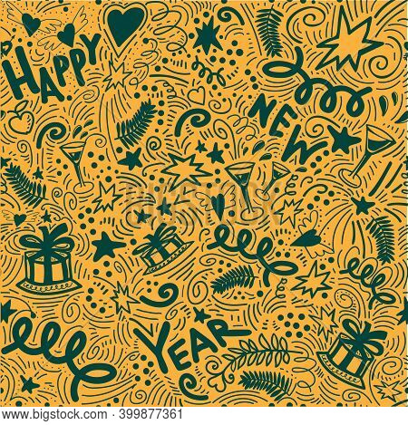 Trendy Colors Merry Christmas Doodle Seamless Pattern With New Year Elements. Drawn By Hand. Garland