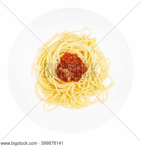 Top View Of Served Spaghetti Alla Sorrentina On White Plate Isolated On White Background