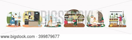 People Using Hemp Products At Home Concept Vector Illustration. Guy Smoke Cannabis From Bong, Woman