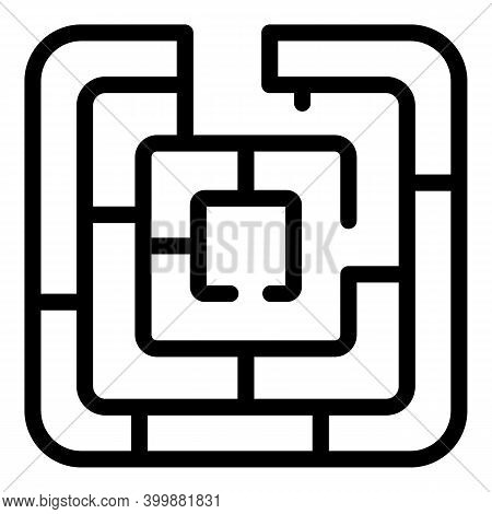 Maze Solution Icon. Outline Maze Solution Vector Icon For Web Design Isolated On White Background