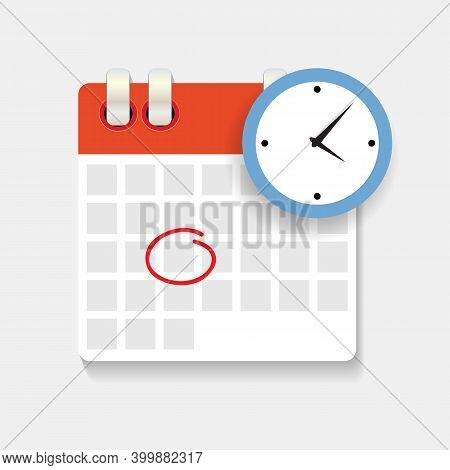 Calendar And Clock Icon. Concept Of Schedule, Appointment. Vector Illustration Eps10