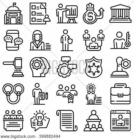 Authority Icons Set. Outline Set Of Authority Vector Icons For Web Design Isolated On White Backgrou