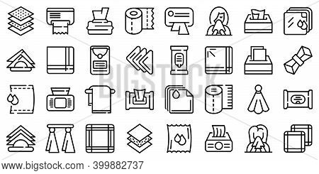 Handkerchief Icons Set. Outline Set Of Handkerchief Vector Icons For Web Design Isolated On White Ba