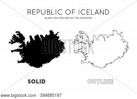 Iceland Map. Blank Vector Map Of The Country. Borders Of Iceland For Your Infographic. Vector Illust