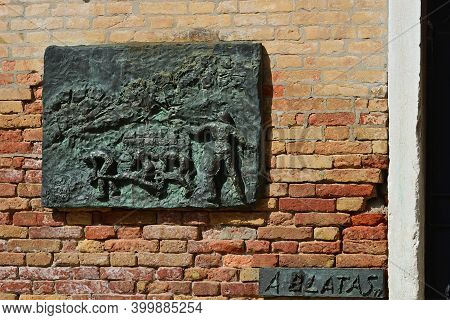 Venice, Italy- Sept 22, 2014: The Bas-relief Panels In The Campo Di Ghetto Nuova Square Commemoratin