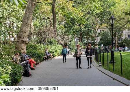 New York City, Usa - September 20, 2019: People Relaxing In Madison Square Park.