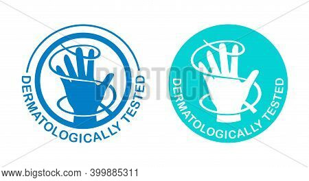 Dermatologically Tested Stamp In 2 Versions - Hand And Wavy Lines Around - Isolated Vector Emblem Fo