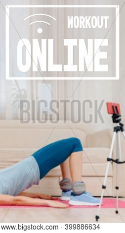 Online Personal Fitness Trainer Doing Stretching Exercise, Online Training, Virtual Trainer, Image W