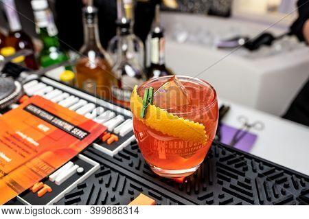 Kiyv, Ukraine, November 22, 2020. «unholy Alliance» Cocktail  Prepared On The Basis Of Single Malt A