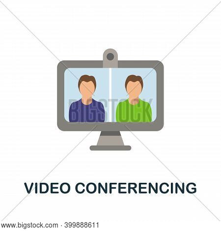 Video Conferencing Flat Icon. Color Simple Element From Work From Home Collection. Creative Video Co