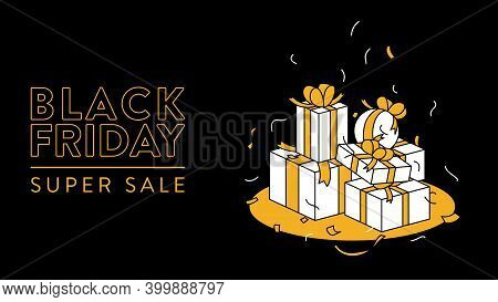 Black Friday Banner With Gift Boxes. Vector Banner Template With Illustration Of A Bunch Of Cardboar