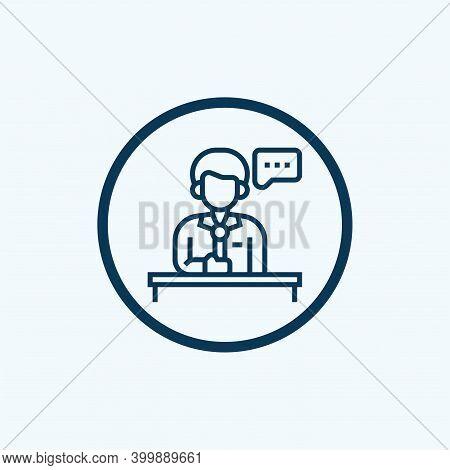 Tribune Speaker Icon. Outline Tribune Speaker Vector Icon For Web Design Isolated On White Backgroun