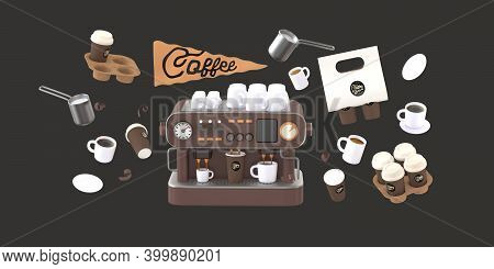 Coffee Shop 3d Render - Coffee Machine -modern Concept Digital Illustration Of A Coffee Maker With C