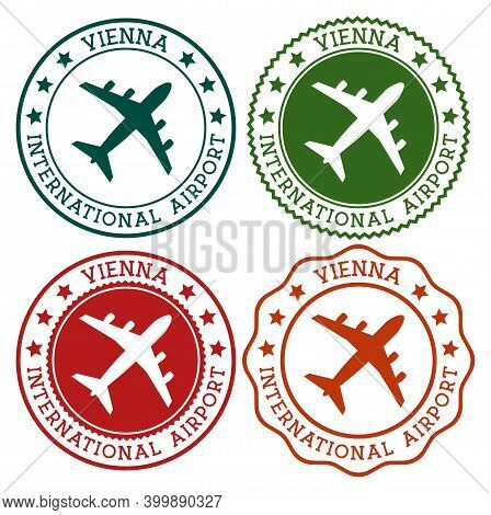 Vienna International Airport. Vienna Airport Logo. Flat Stamps In Material Color Palette. Vector Ill