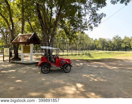 Sukhothai Thailand-28 November 2020: Wat Mahathat Temple Electric Train For Rent For Tourists In The