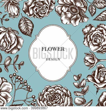Badge Over Design With Roses, Anemone, Eucalyptus, Lavender, Peony Viburnum Stock Illustration